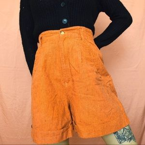 ORANGE AND BLACK STRIPE HIGH WAISTED SHORTS